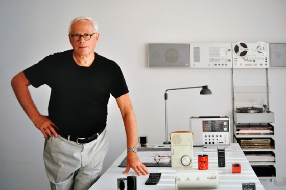 Dieter Rams posing with some of his greatest hits