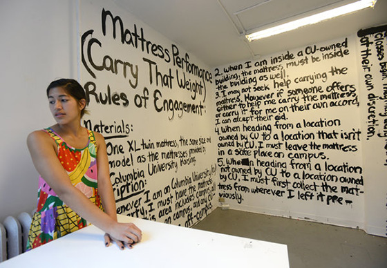 "Emma Sulkowicz 'Carry That Weight"" project."